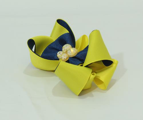 Laço Decorado Amarelo com Marinho   - Toca do Bebê