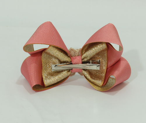 Laço Decorado Rosê com Dourado  - Toca do Bebê