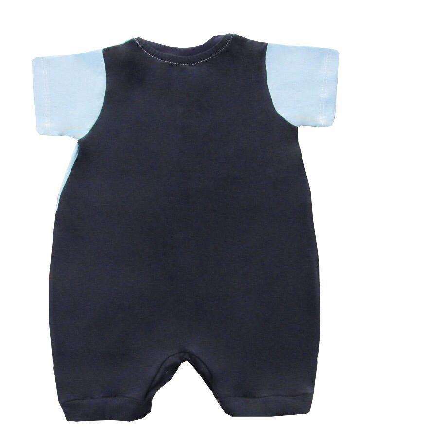 Macacão Curto Cachorrinho Azul Bebê  - Toca do Bebê
