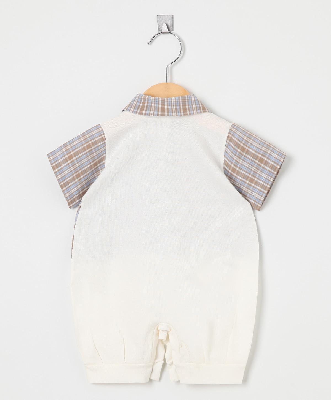 Macacão Curto Camisa Xadrez  - Toca do Bebê