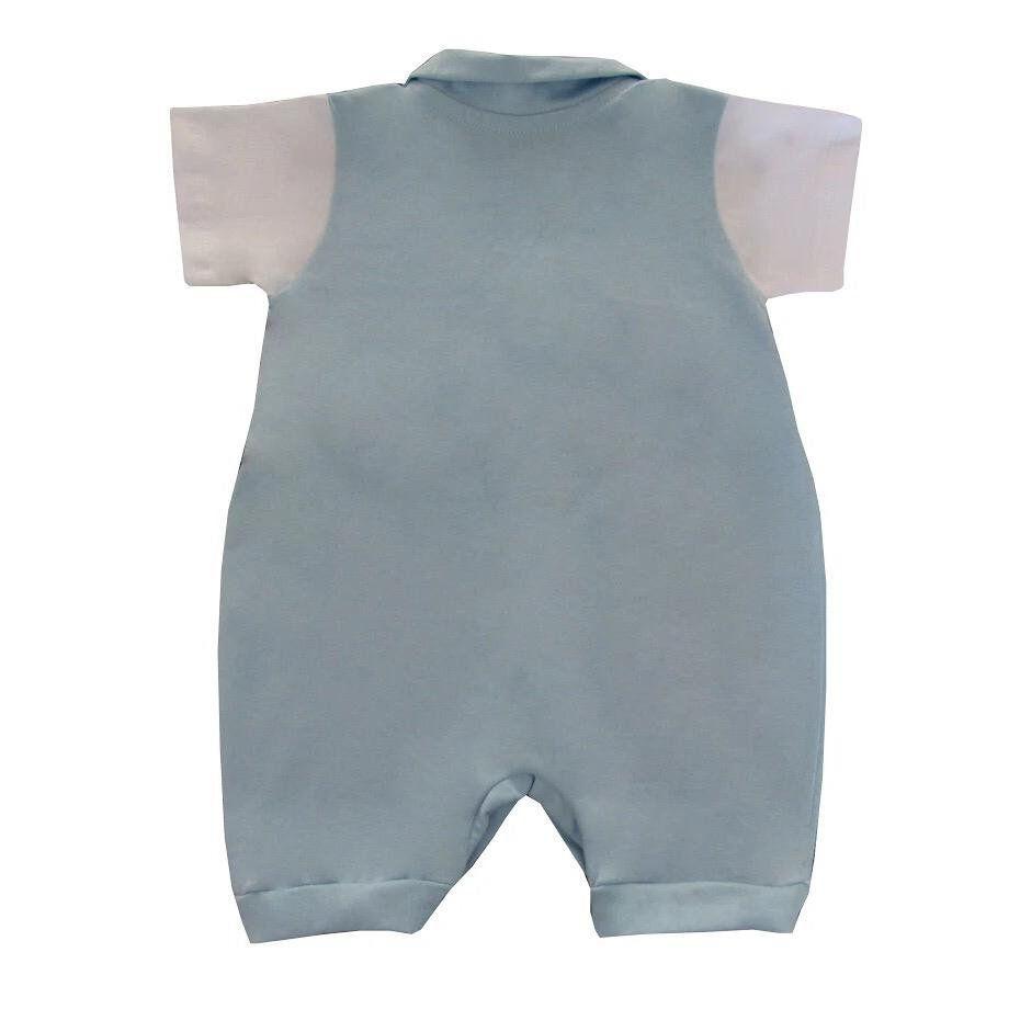 Macacão curto com colete acoplado com bordado no peito  - Toca do Bebê
