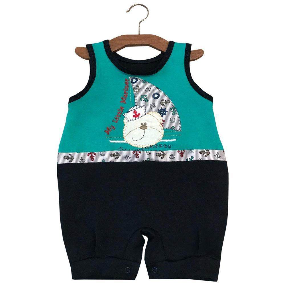 Macacão Curto de Bebê Marinheiro Verde