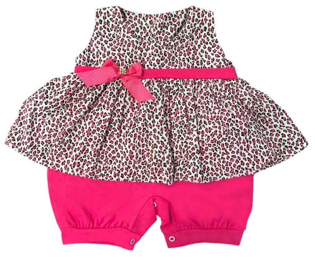 Macacão Curto de Oncinha Pink