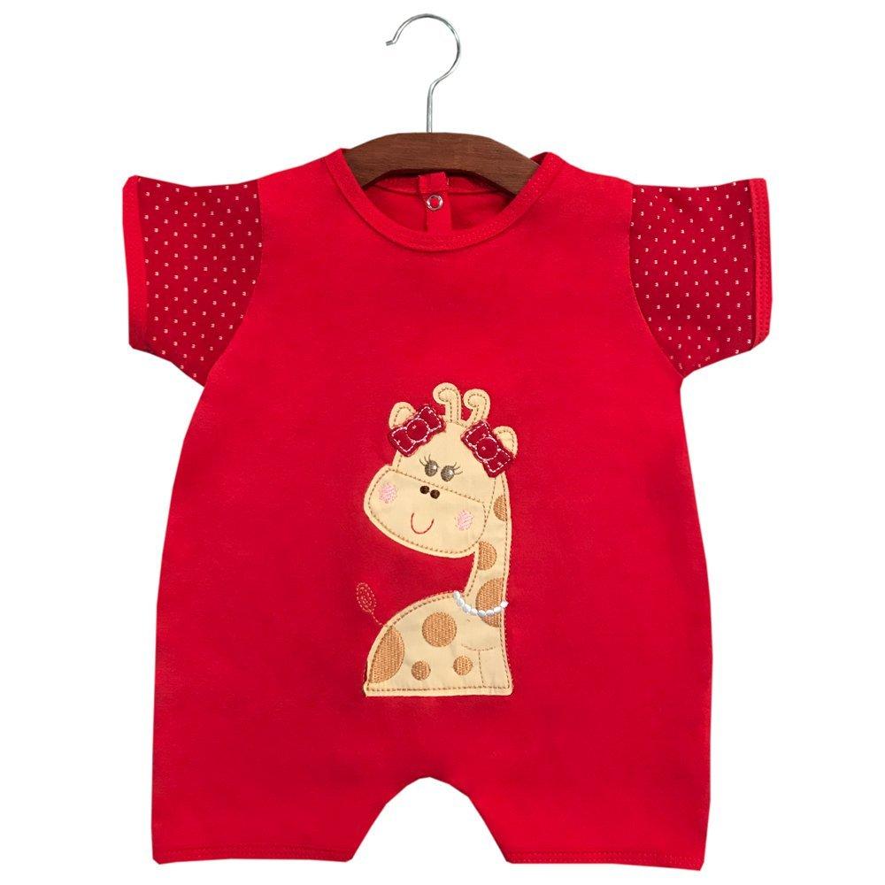 Macacão Curto Girafinha Vermelho  - Toca do Bebê