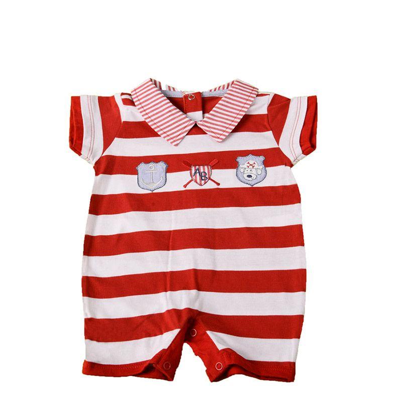 cef4095493e68 Macacão Curto Listras Vermelho Masculino - Toca do Bebê ...