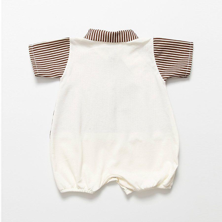 Macacão Curto Palha Com Listras Masculino  - Toca do Bebê