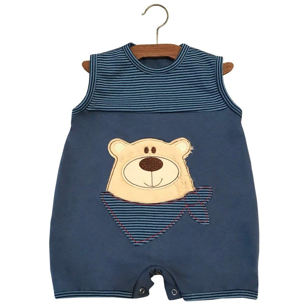 Macacão Curto Urso Azul