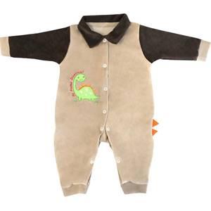 Macacão Dino Bege com Marrom  - Toca do Bebê
