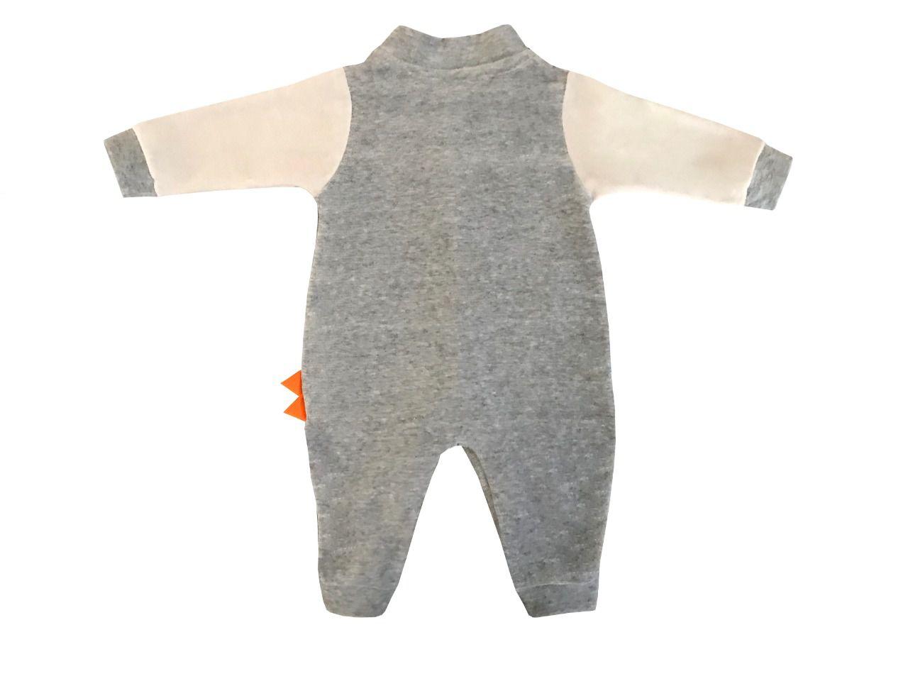 Macacão Dino Cinza  - Toca do Bebê