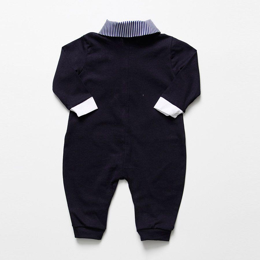 Macacão Longo Azul Marinho Guilherme Masculino  - Toca do Bebê