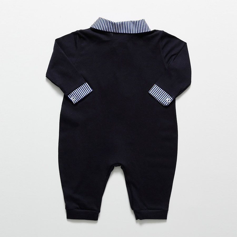 Macacão Longo Azul Marinho Gustavo Masculino  - Toca do Bebê