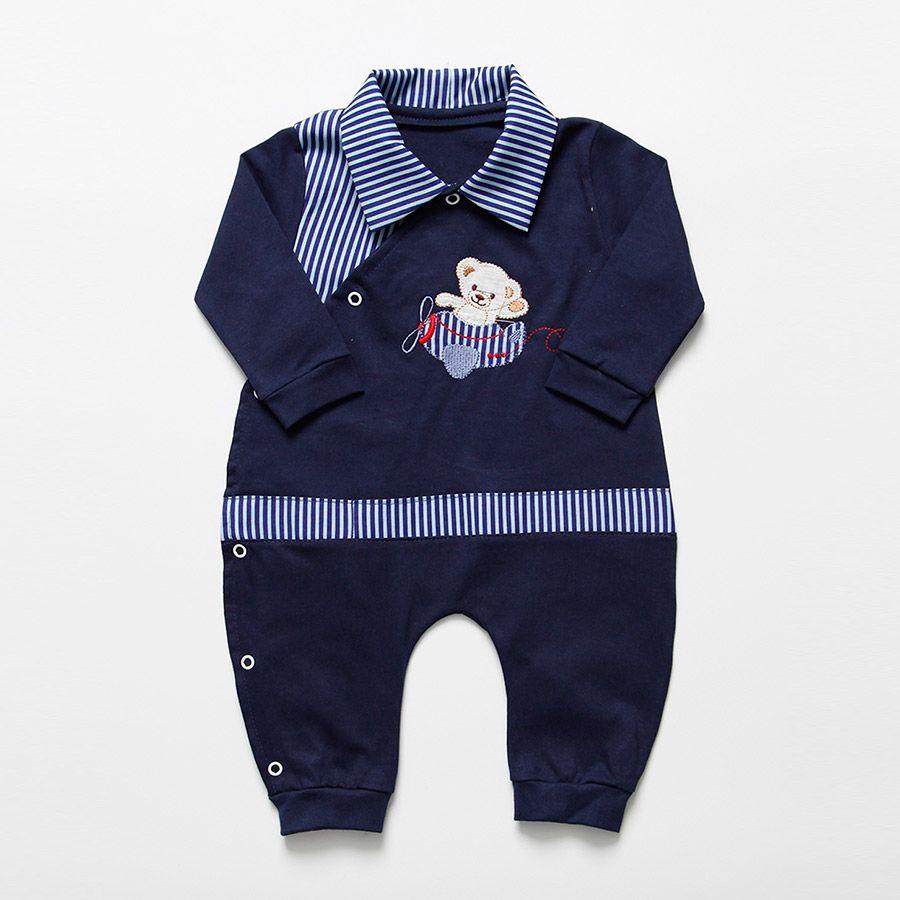 Macacão Longo Azul Marinho Ursinho No Avião  Masculino  - Toca do Bebê