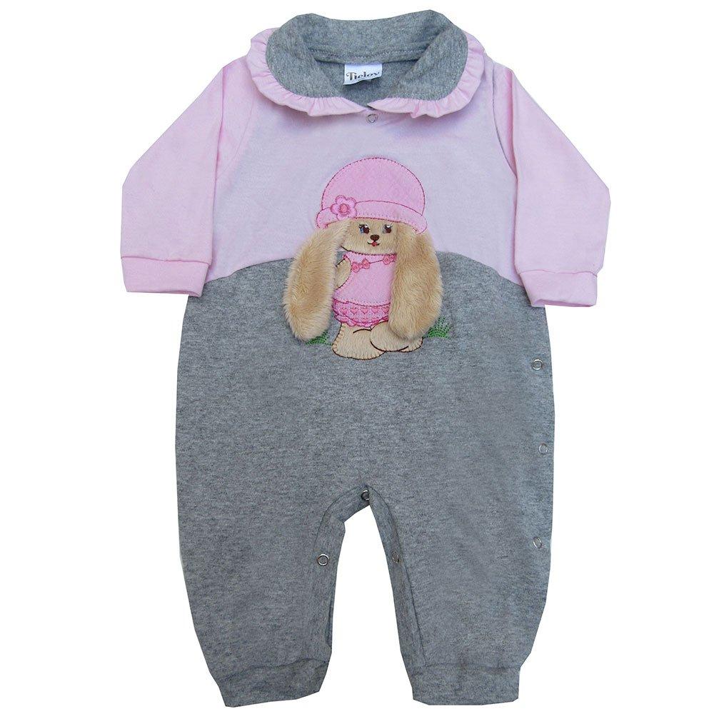 Macacão Longo De Bebê Coelhinha Cinza
