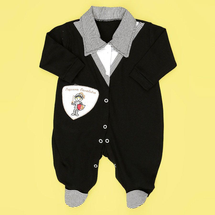 Macacão Longo Pequeno Cavaleiro Preto Masculino  - Toca do Bebê