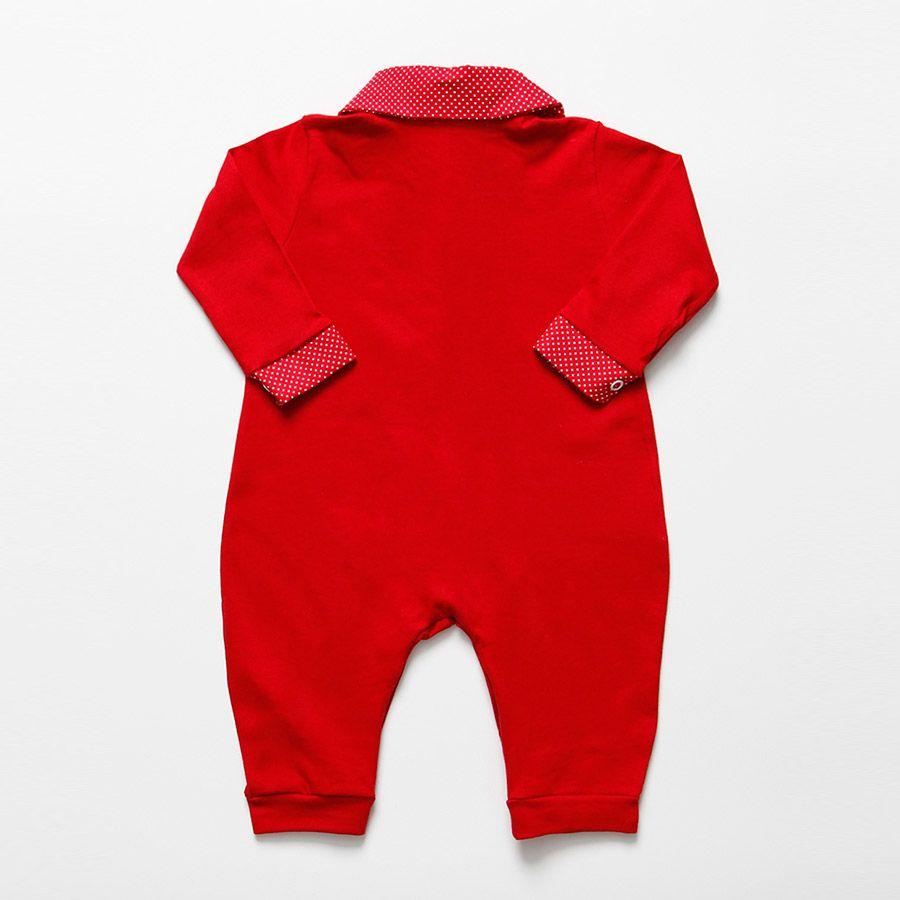 Macacão Longo Vermelho Com Poá Feminino  - Toca do Bebê