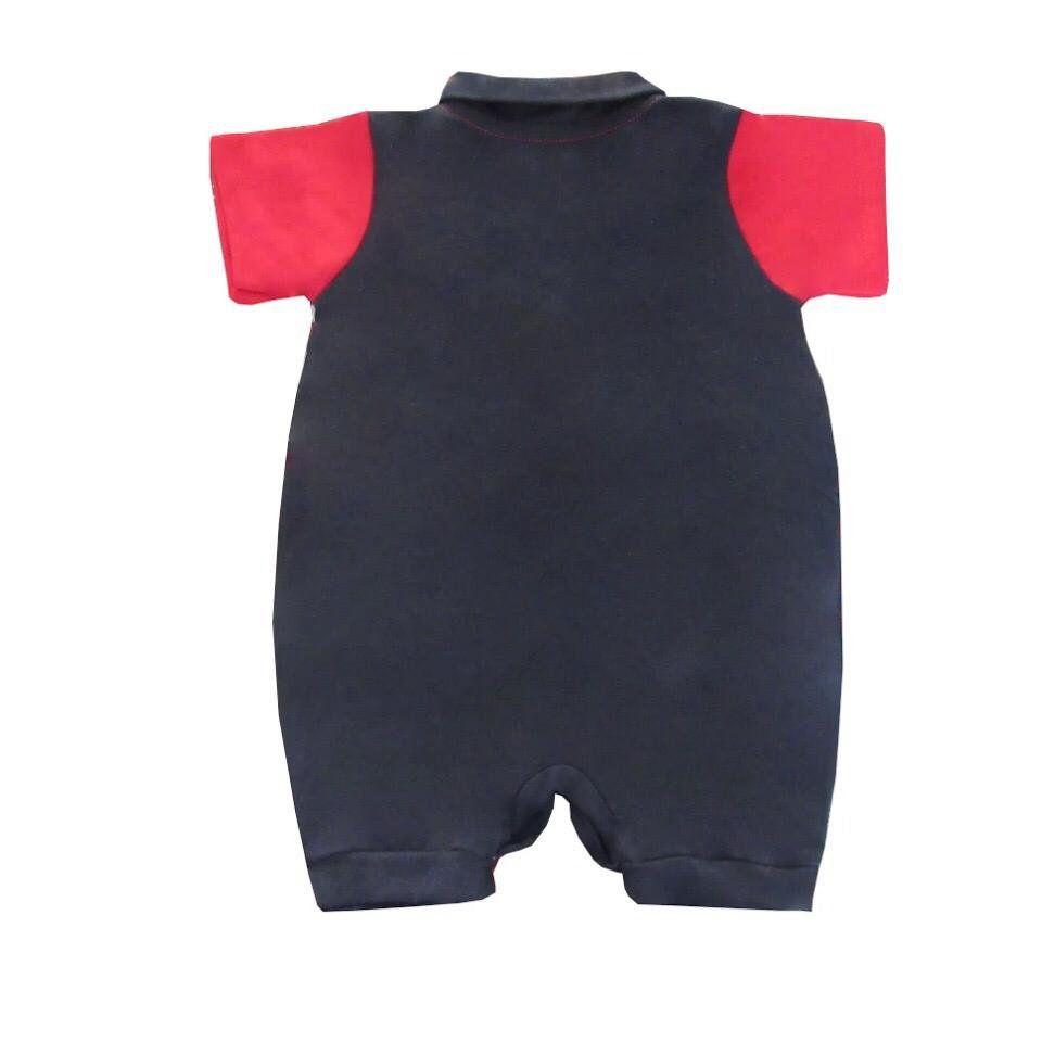 Macacão Manga Curta Preto e Vermelho  - Toca do Bebê