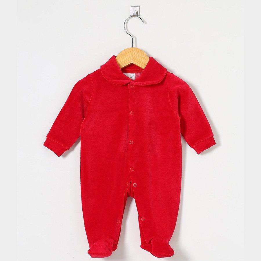 Macacão Manga Longa Alice Vermelho 02 Peças Plush  - Toca do Bebê