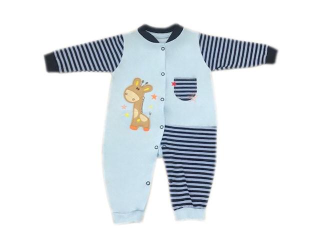 Macacão Manga Longa Azul Girafa