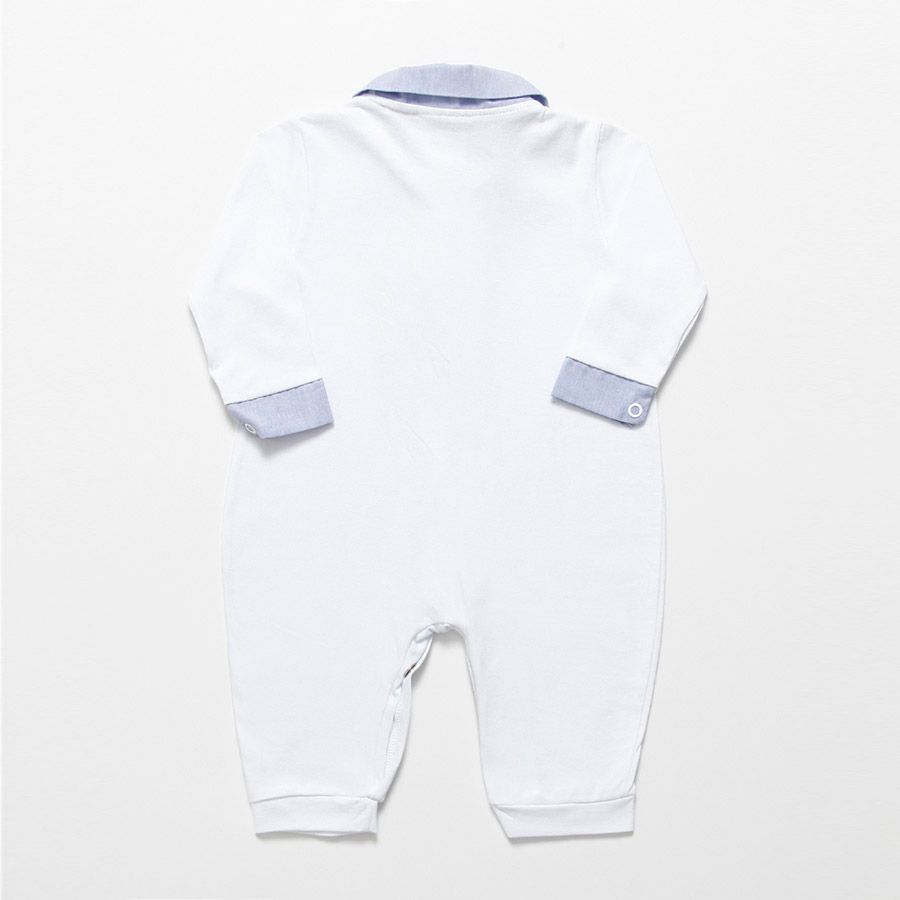 Macacão Manga Longa Branco Luis Gustavo Masculino  - Toca do Bebê