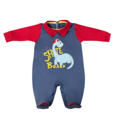 Macacão Manga Longa Dinossauro Azul Jeans  - Toca do Bebê