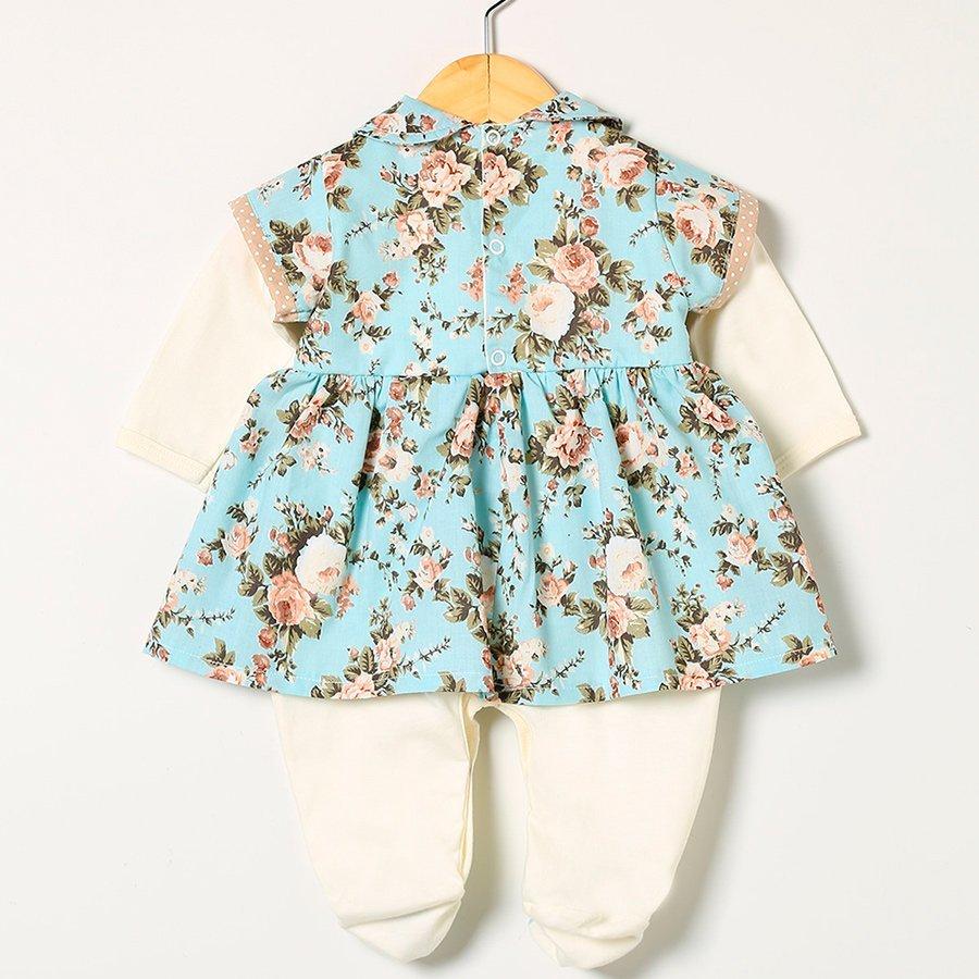 Macacão Manga Longa Floral Azul  - Toca do Bebê