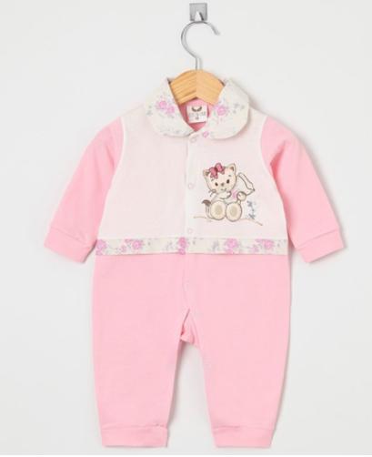 Macacão Manga Longa Gatinha Mimi Rosa  - Toca do Bebê