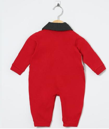 Macacão Manga Longa Joaninha Vermelho com Poá Preto  - Toca do Bebê