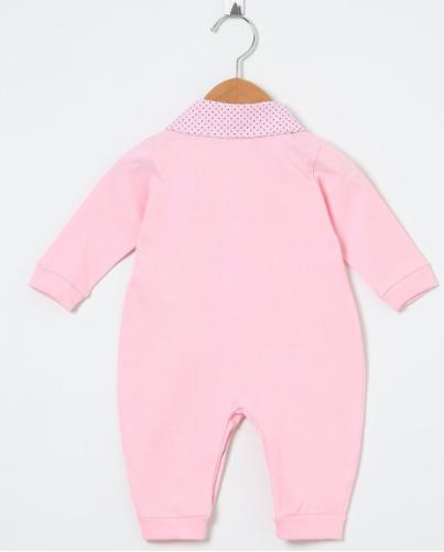 Macacão Manga Longa Laços Poá Rosa  - Toca do Bebê