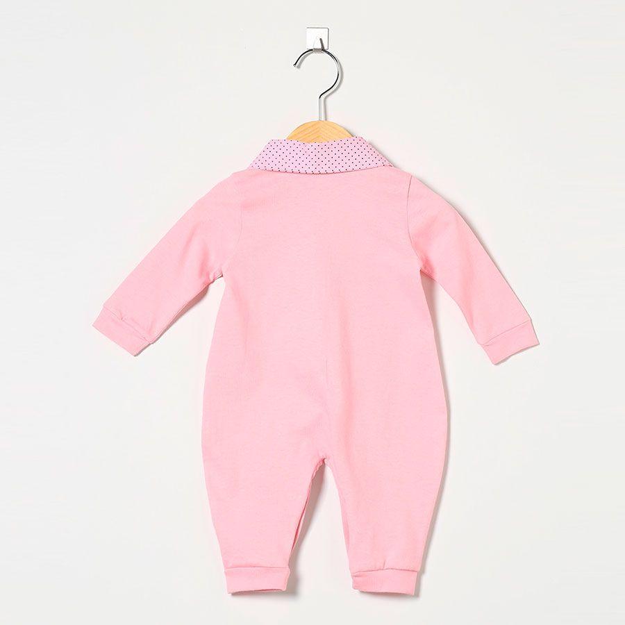 Macacão Manga Longa Malha 100% Algodão Rosa  - Toca do Bebê