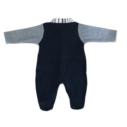 Macacão Manga Longa Marinho   - Toca do Bebê