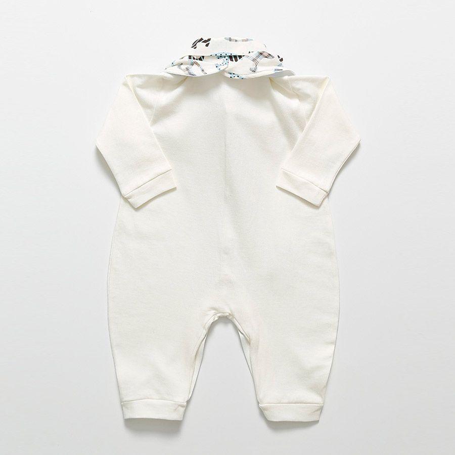 Macacão Manga Longa Palha Com Babador Cavalinho Masculino  - Toca do Bebê