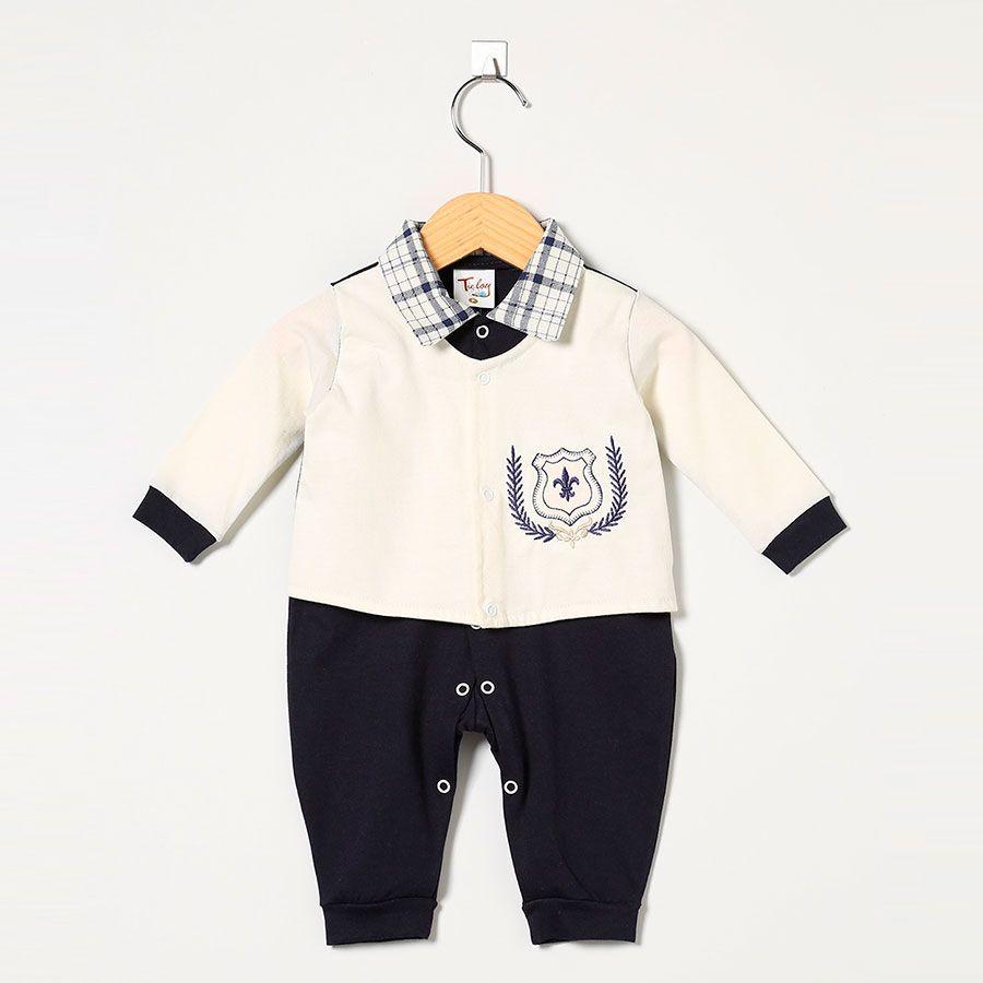 Macacão Masculino em Malha Brasão Real Marinho/Palha  - Toca do Bebê