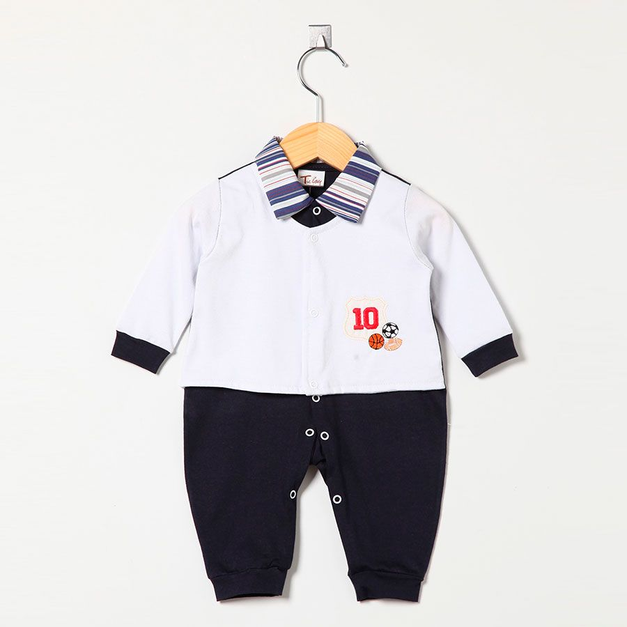 Macacão Masculino em Malha Esportes n° 10 Marinho/Branco  - Toca do Bebê