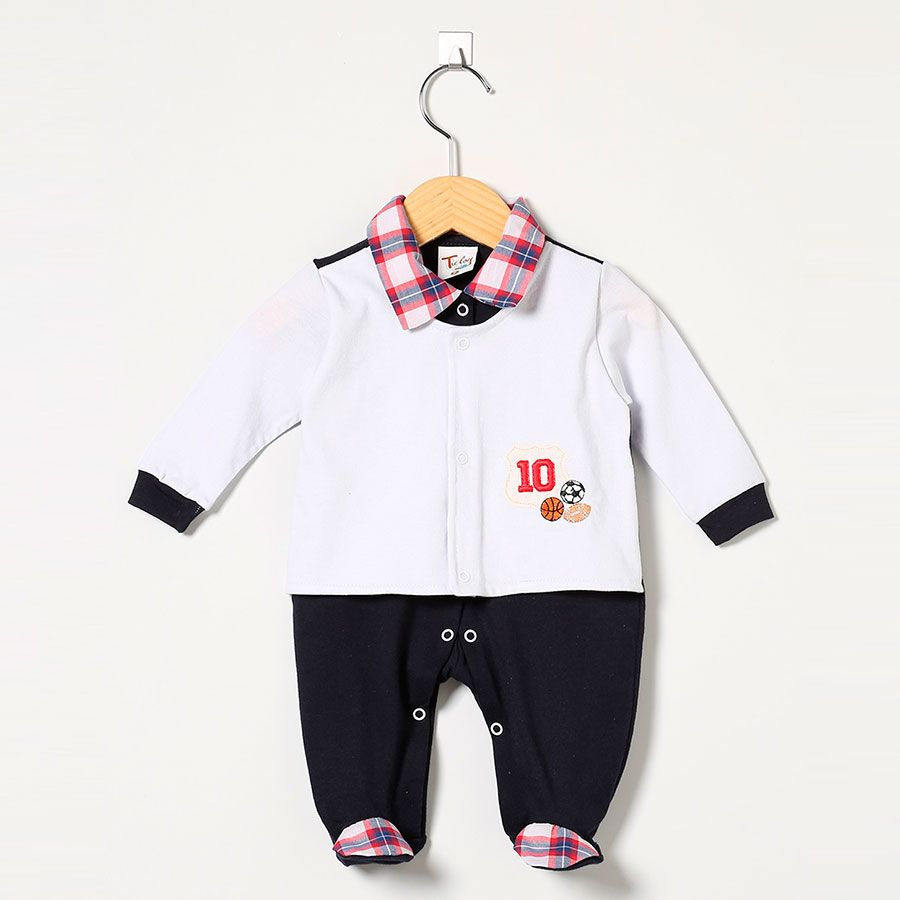 Macacão Masculino em Malha Marinho/Branco Esportes n° 10  - Toca do Bebê