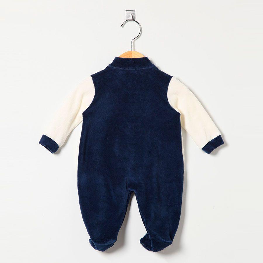 Macacão Masculino em Plush Brasão Real Azul Marinho/Palha  - Toca do Bebê