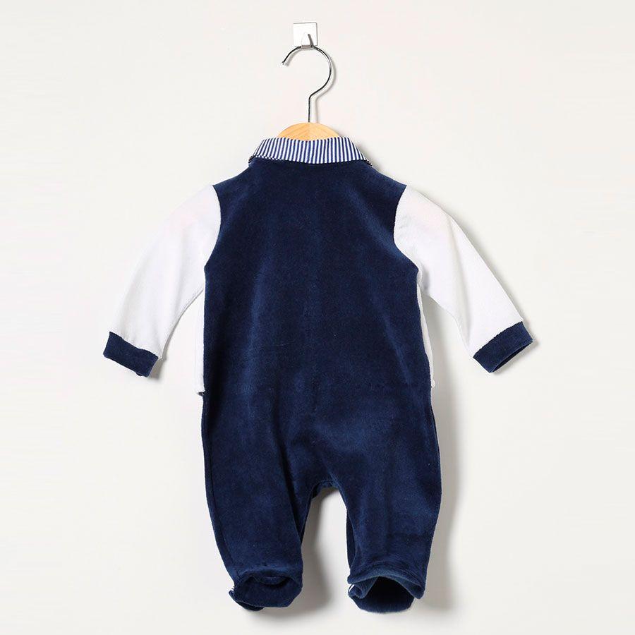 Macacão Masculino em Plush Esportes Azul Marinho/Branco  - Toca do Bebê