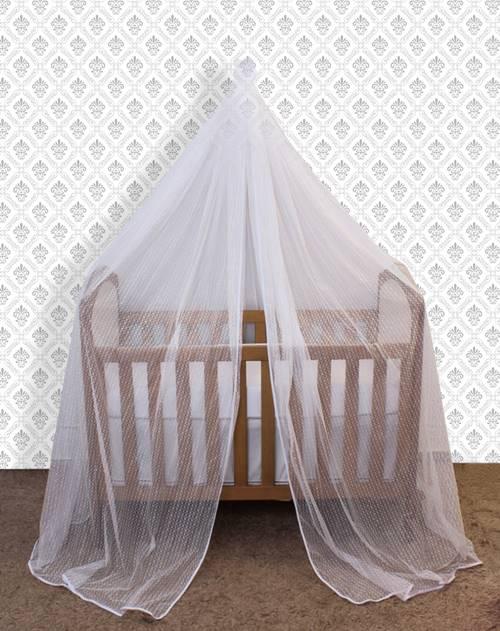 Mosquiteiro de Parede em Renda Branco  - Toca do Bebê