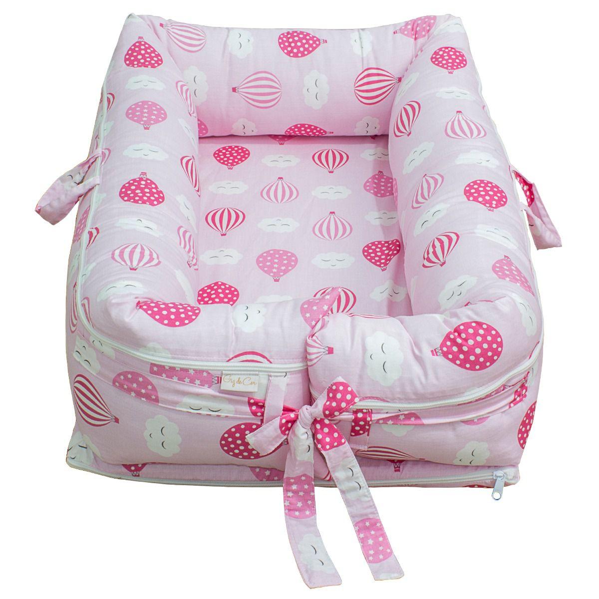 Ninho para Bebê Redutor de Berço com Zíper Balãozinho Rosa