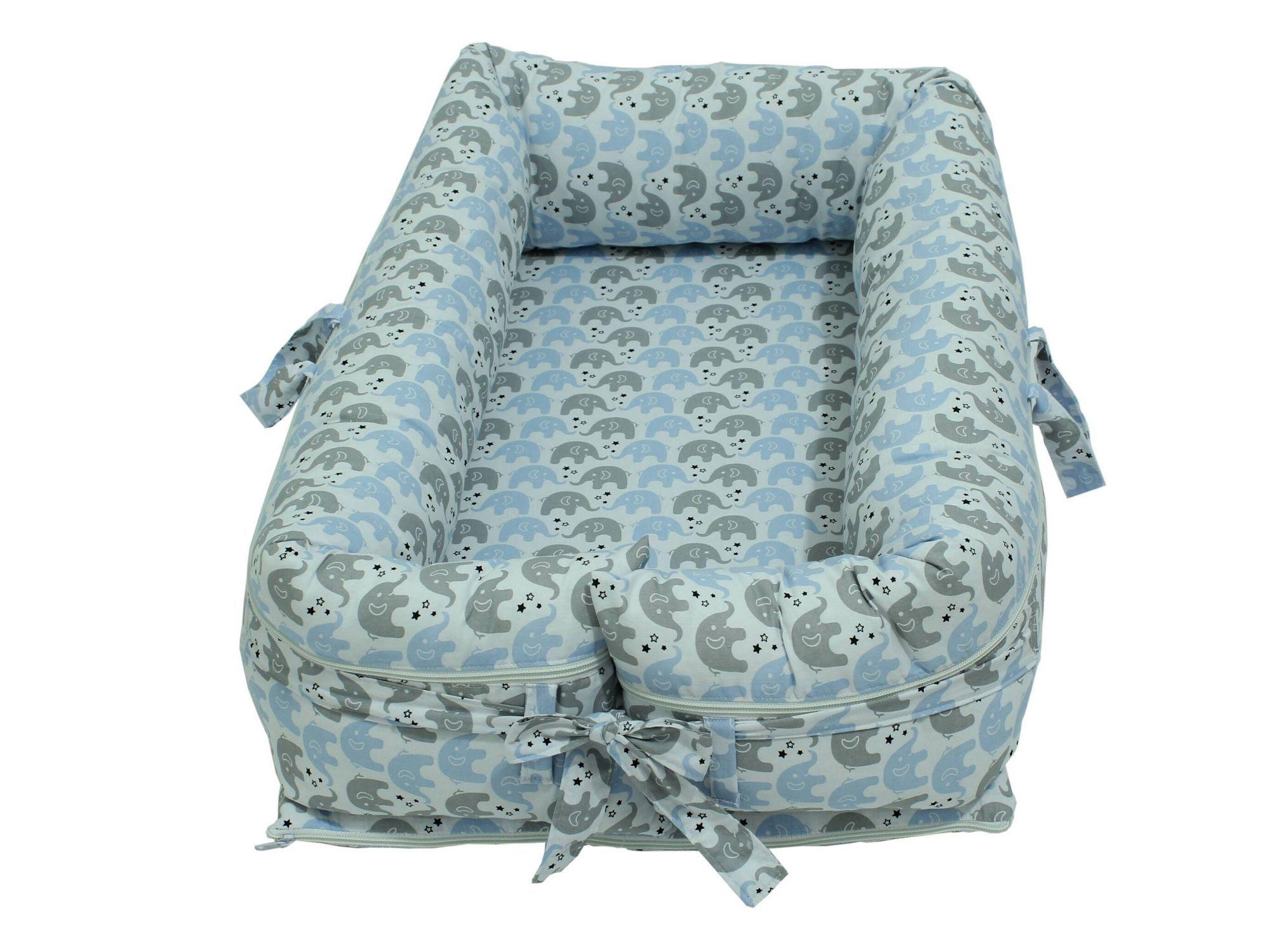 Ninho para Bebê Redutor de Berço com Zíper Elefantinho Azul