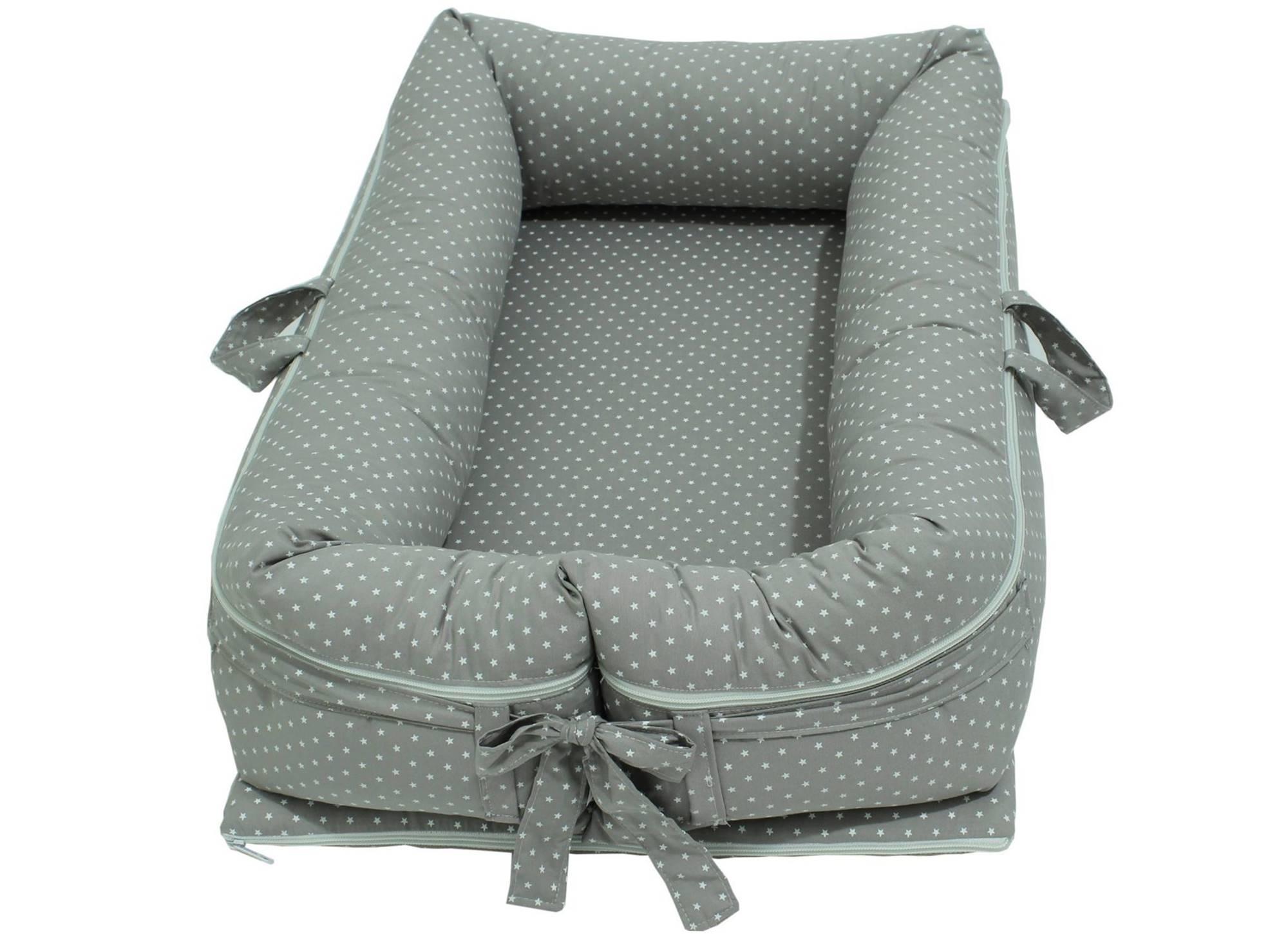 Ninho para Bebê Redutor de Berço com Zíper Estrelinha Cinza