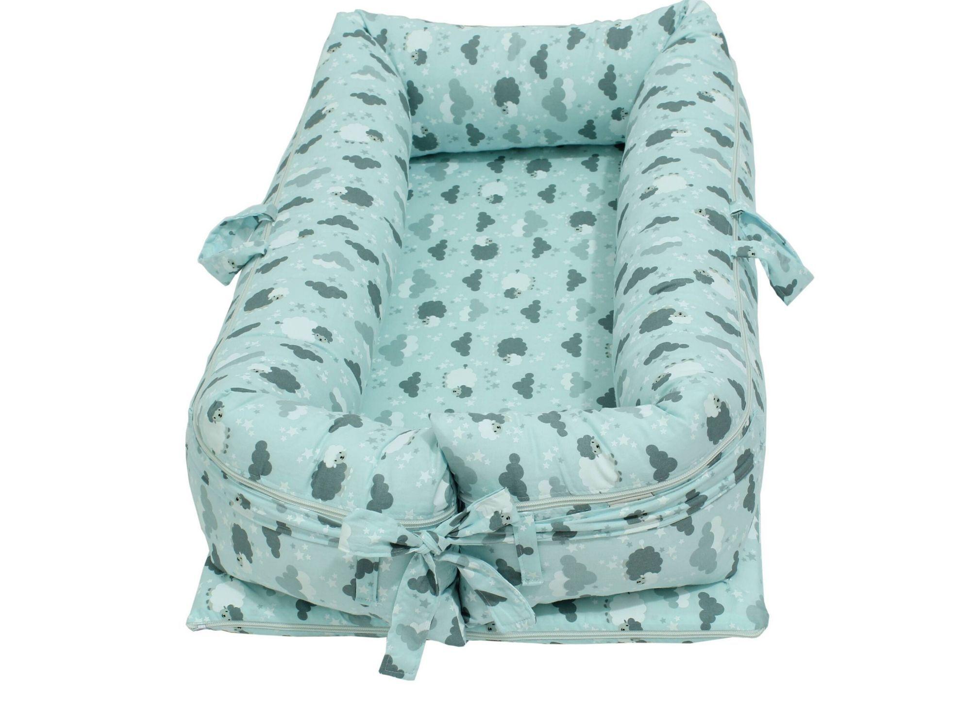 Ninho para Bebê Redutor de Berço com Zíper Ovelha Azul