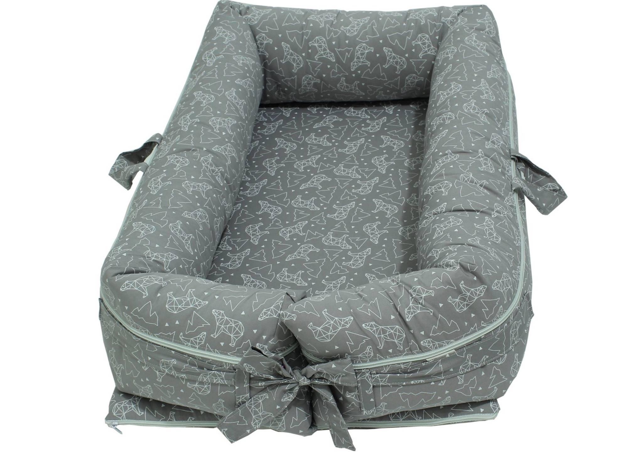 Ninho para Bebê Redutor de Berço com Zíper Urso Dimensional Cinza
