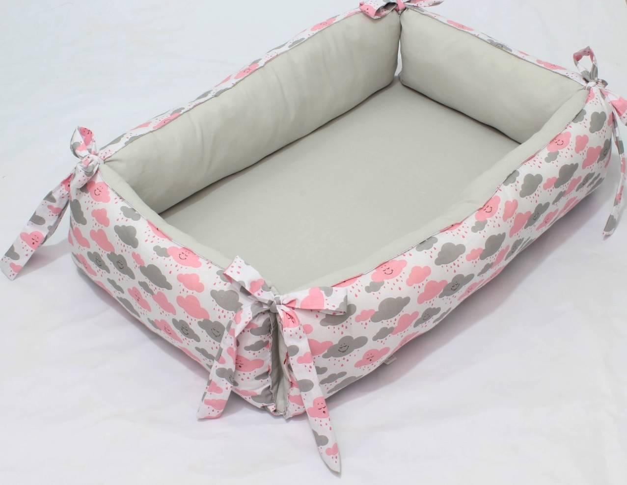 Ninho para Bebê Redutor de Berço Nuvem Rosa e Cinza