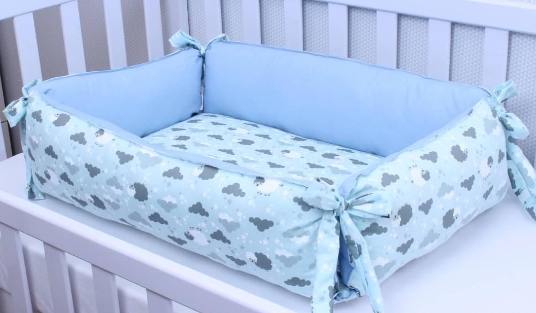 Ninho para Bebê Redutor de Berço Ovelha Azul
