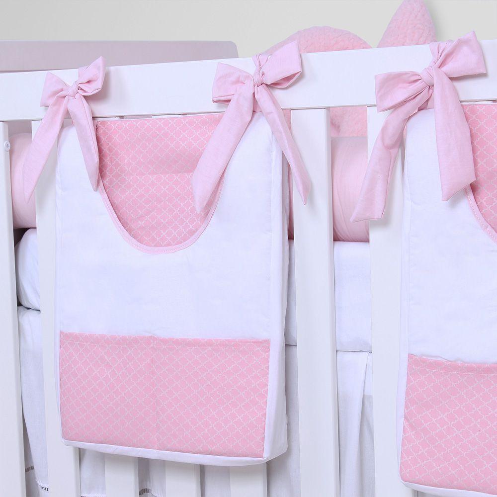 Porta Fraldas de Varão 02 Peças Arabesco Rosa  - Toca do Bebê