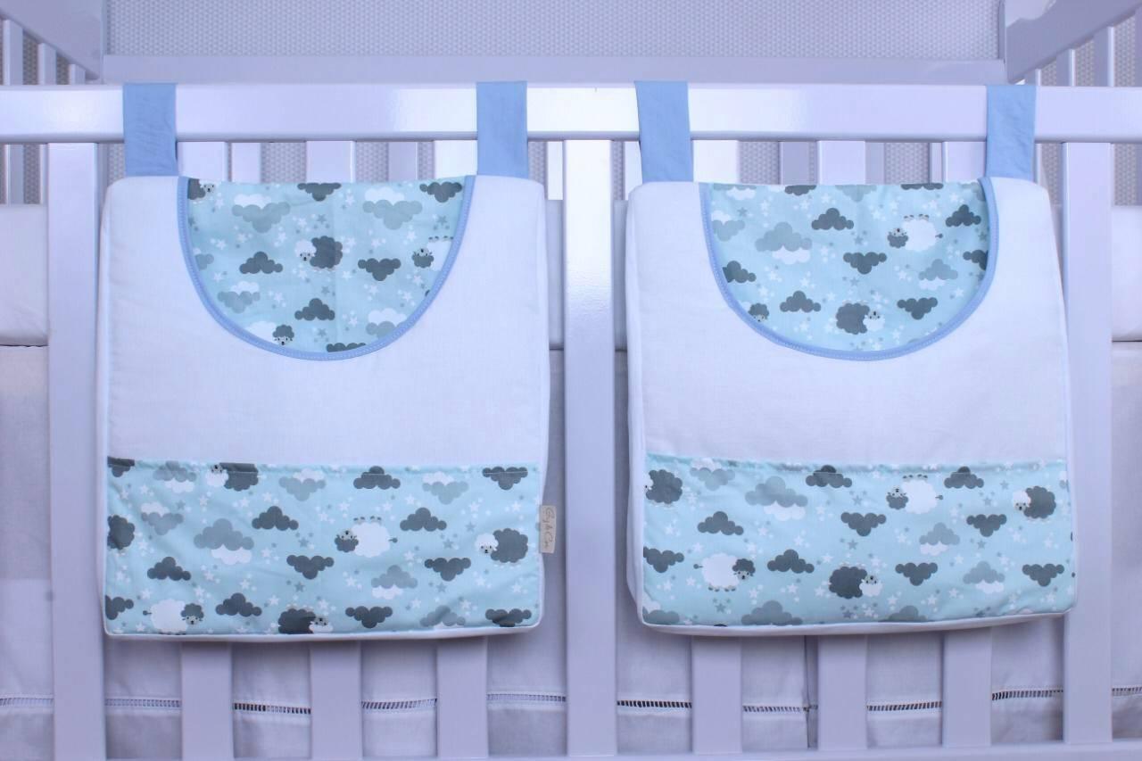Porta Fraldas de Varão 02 Peças Ovelha Azul