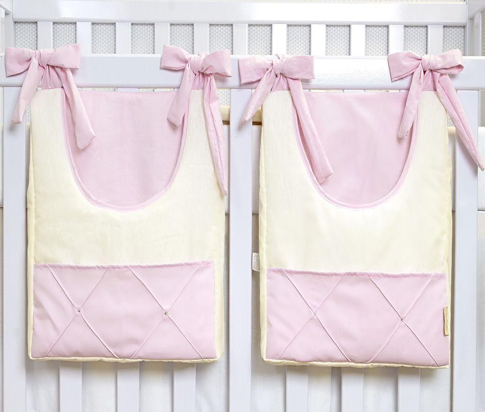 Porta Fraldas de Varão 02 Peças Palha com Rosa  - Toca do Bebê