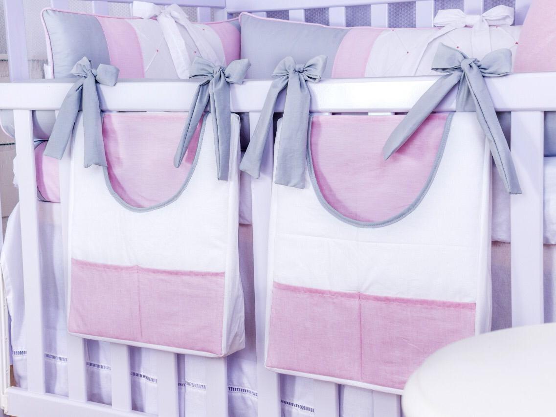 Porta Fraldas de Varão 02 Peças Classic Rosa