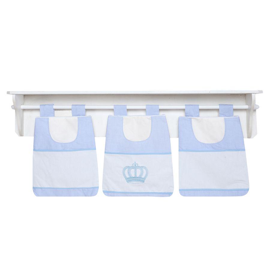 Porta Fraldas de Varão Kit Realeza Azul 03 Peças  - Toca do Bebê