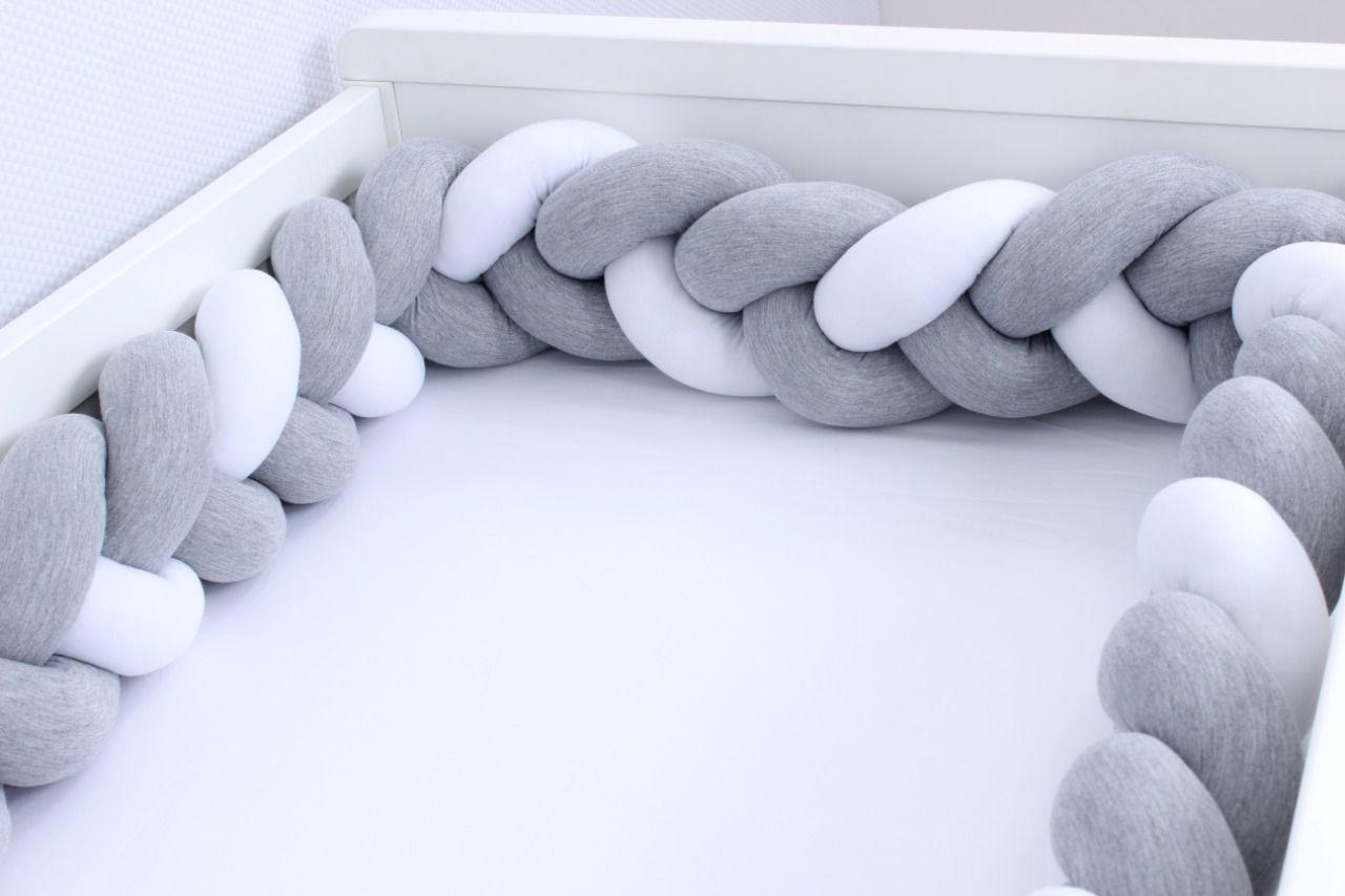 Protetor de Berço Cinza Mescla com Branco 4m